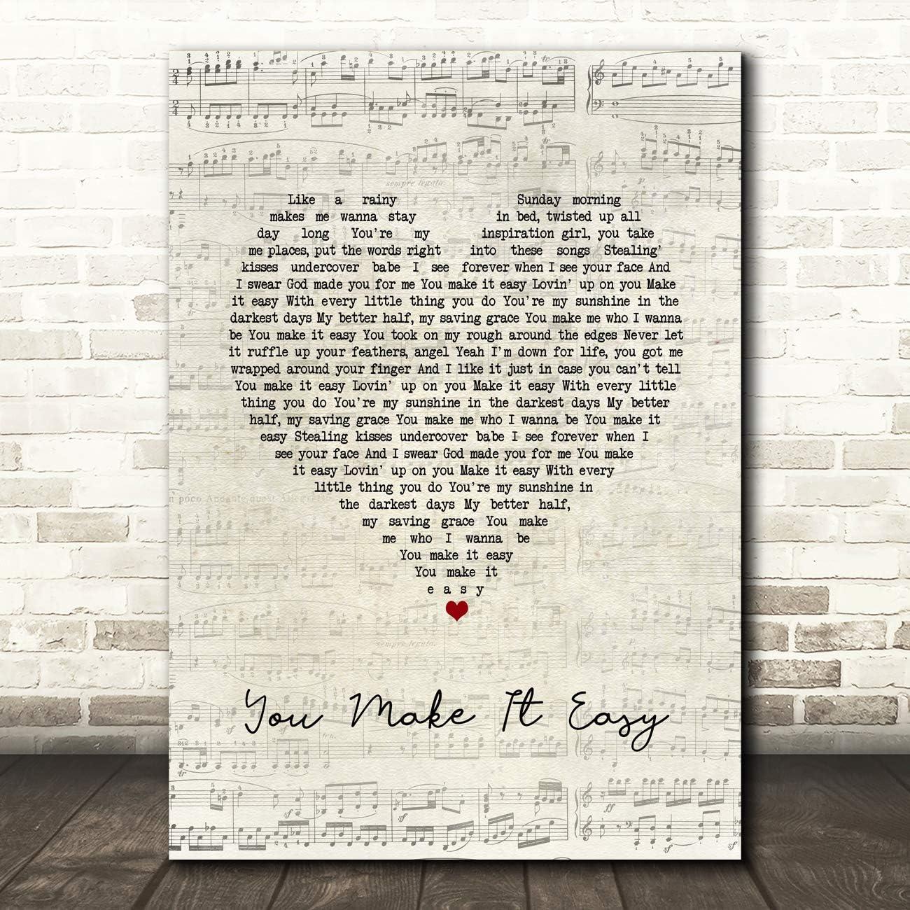 You Make It Easy Script Heart Song Lyric Wall Art Poster Gift Present Print