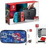 Console Nintendo Switch avec Joy-Con - rouge néon/bleu néon + Pochette de transport Mario + Protection d'écran