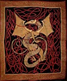 "Celtic Dragon Tapestry Cotton Bedspread 108"" x 88"" Full-Queen Red"