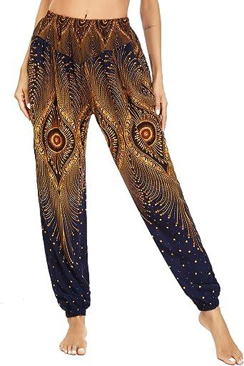 Irevial Pantalones Holgados De Yoga Para Mujer Alta Cintura Pantalones Boho Mujer Verano Casual Danza Pilates Yoga Pants Amazon Es Ropa Y Accesorios
