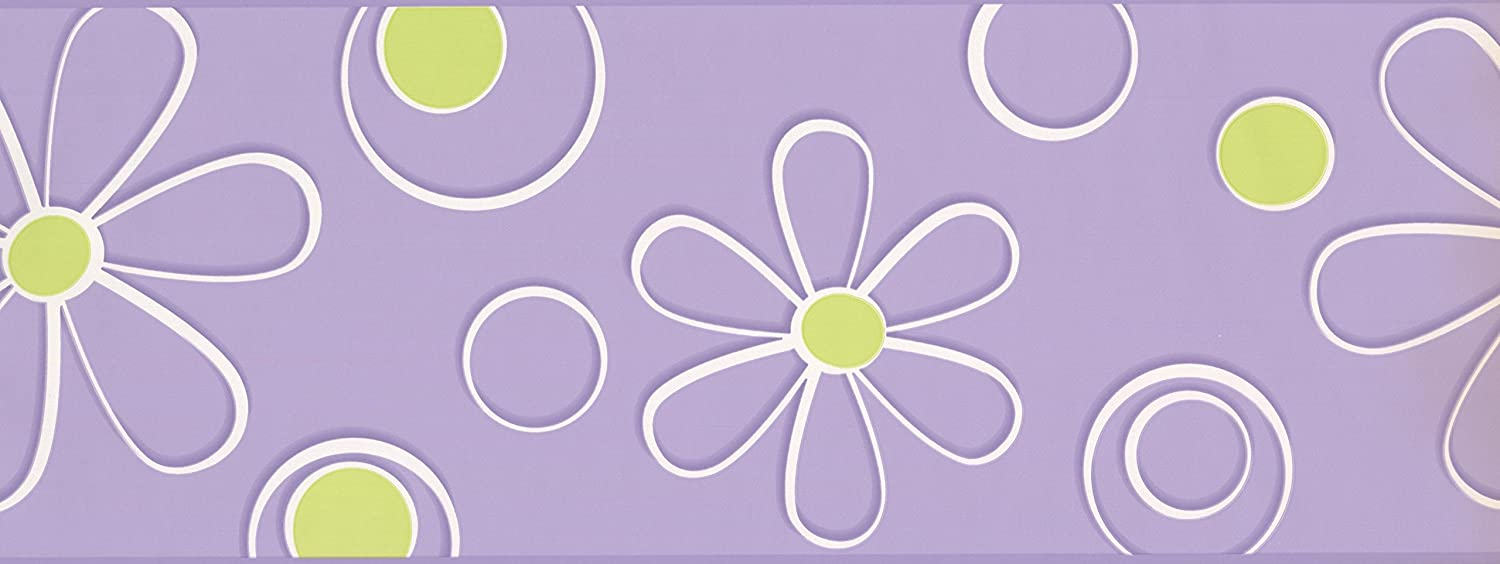 Roll 15 x 9 Abstract White Yellow Flower Drawing Purple Wallpaper Border for Kids