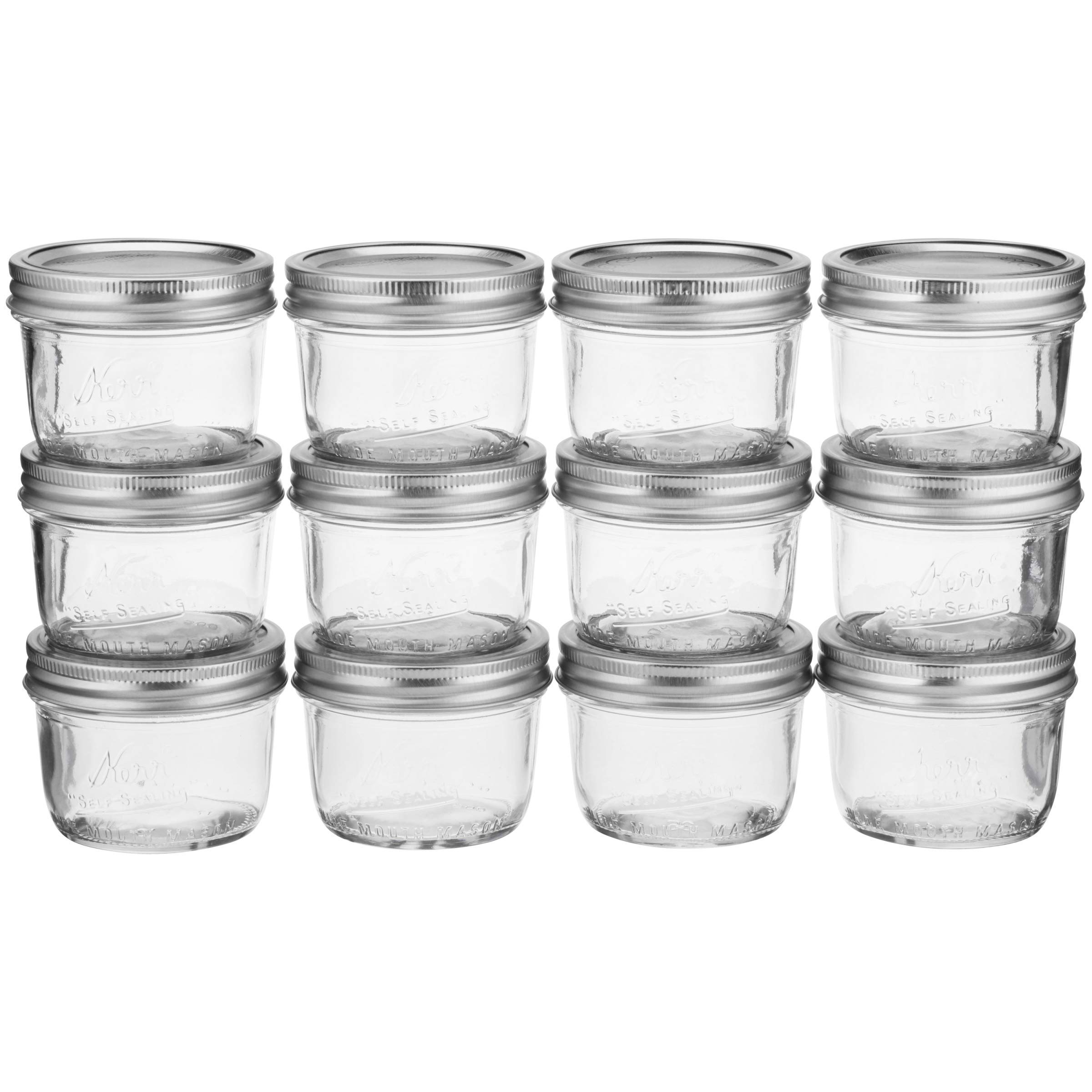 Kerr Wide Mouth Half-Pint Glass Mason Jars 8-Ounces with Lids and Bands 12-Count per Case (1-Case) - Pack of 4