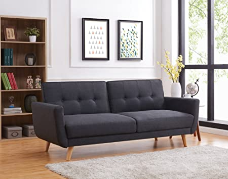 Bestmobilier - Lola Scandinavian-Style 3-Seater Fabric Sofa Bed (209 ...