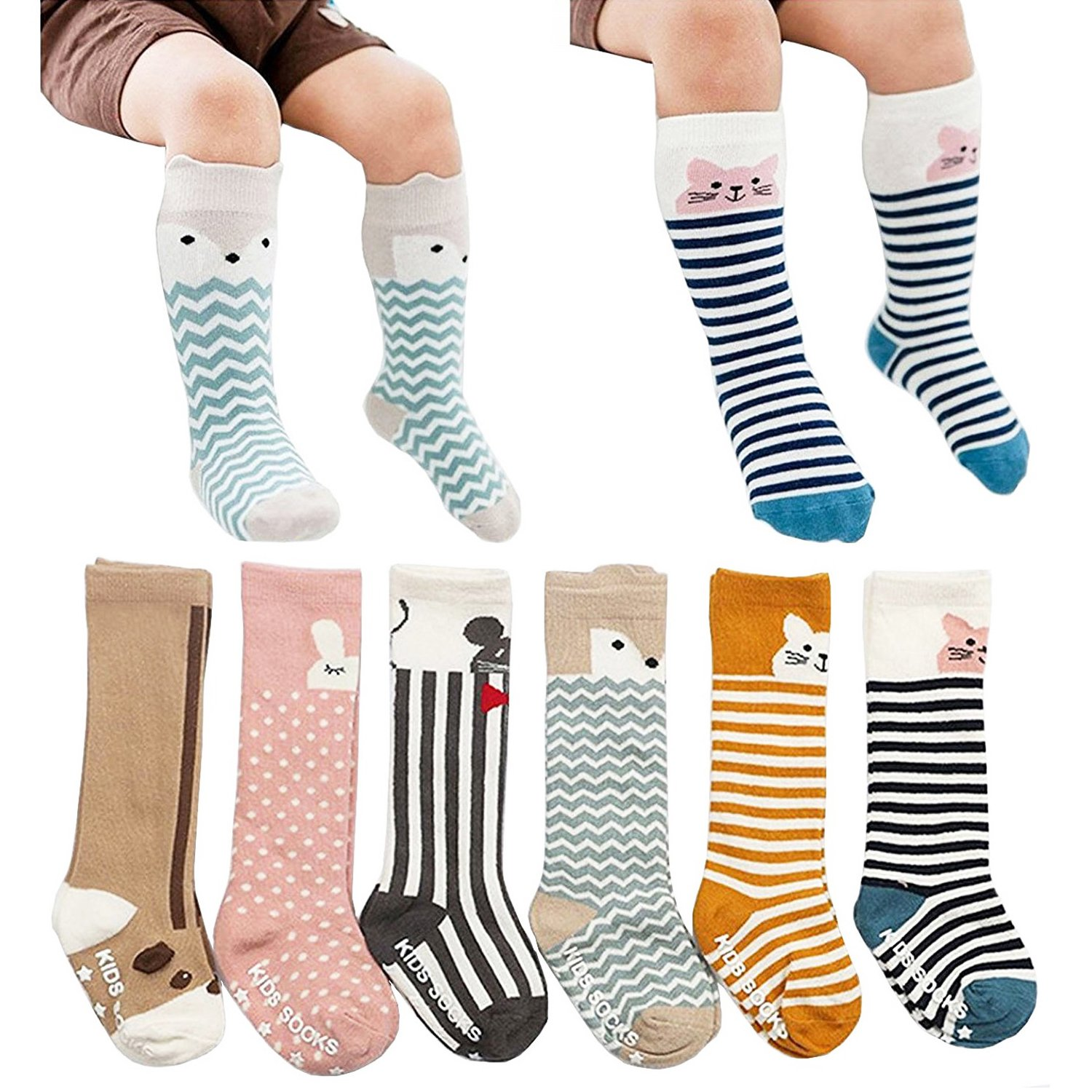 [6 Pairs] Toddler Socks, Non Skid Knee High Cotton Socks for Baby Boys & Girls (M(2-4 Years)) by Fansco