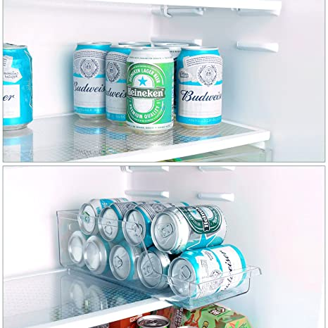 GlobaLink Organizador de Latas [Súper práctico] Dispensador de Botellas para Cervezas Bebida Leche Frutas Caja de Almacenamiento Elegante Transparente para ...