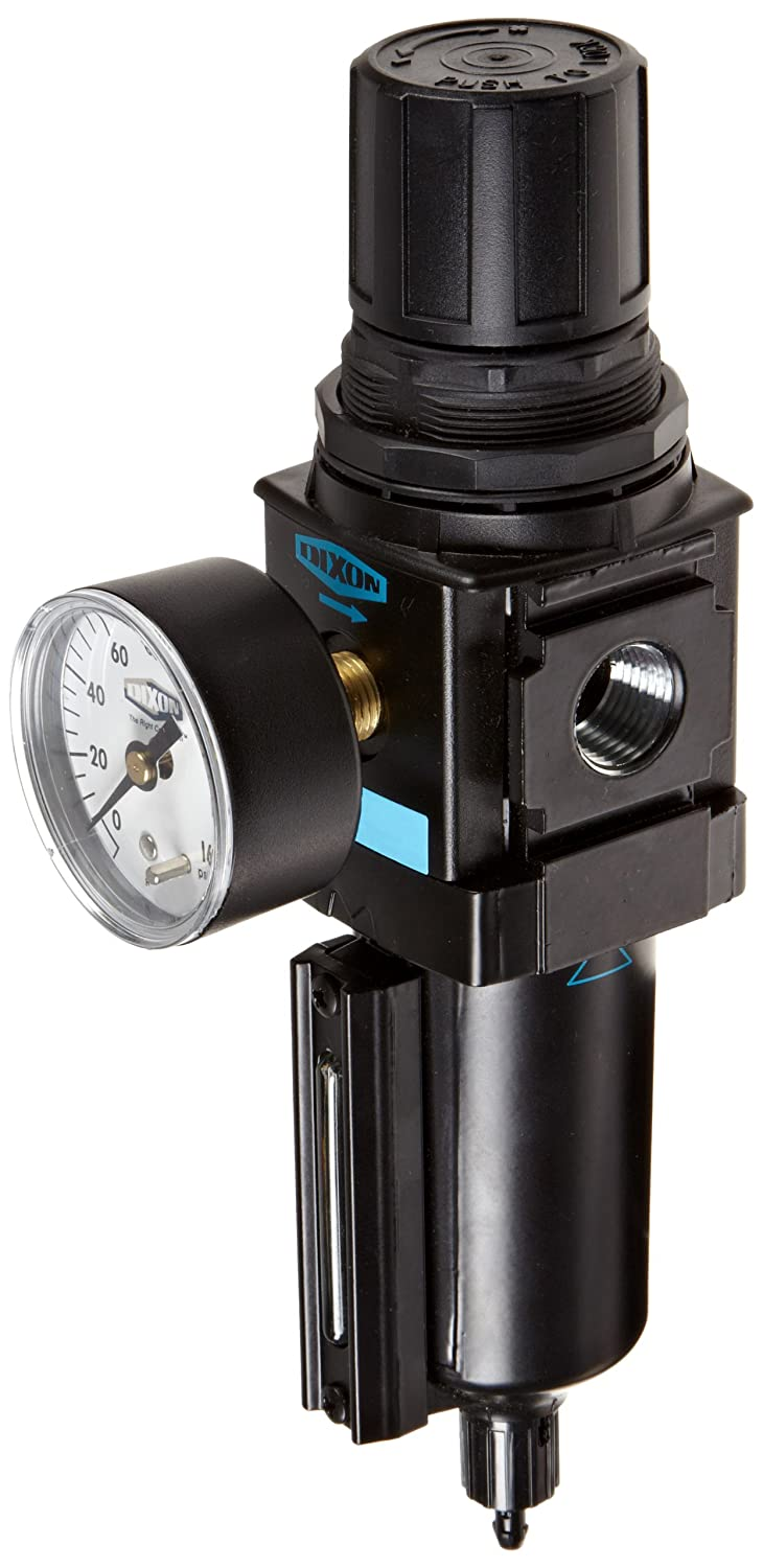 250 psig Pressure 1//2 Size Dixon Valve /& Coupling Dixon B18-04MGMB Manual Drain Wilkerson Compact Filter//Regulator with Metal Bowl and Sight Glass 1//2 Size 121 SCFM Flow