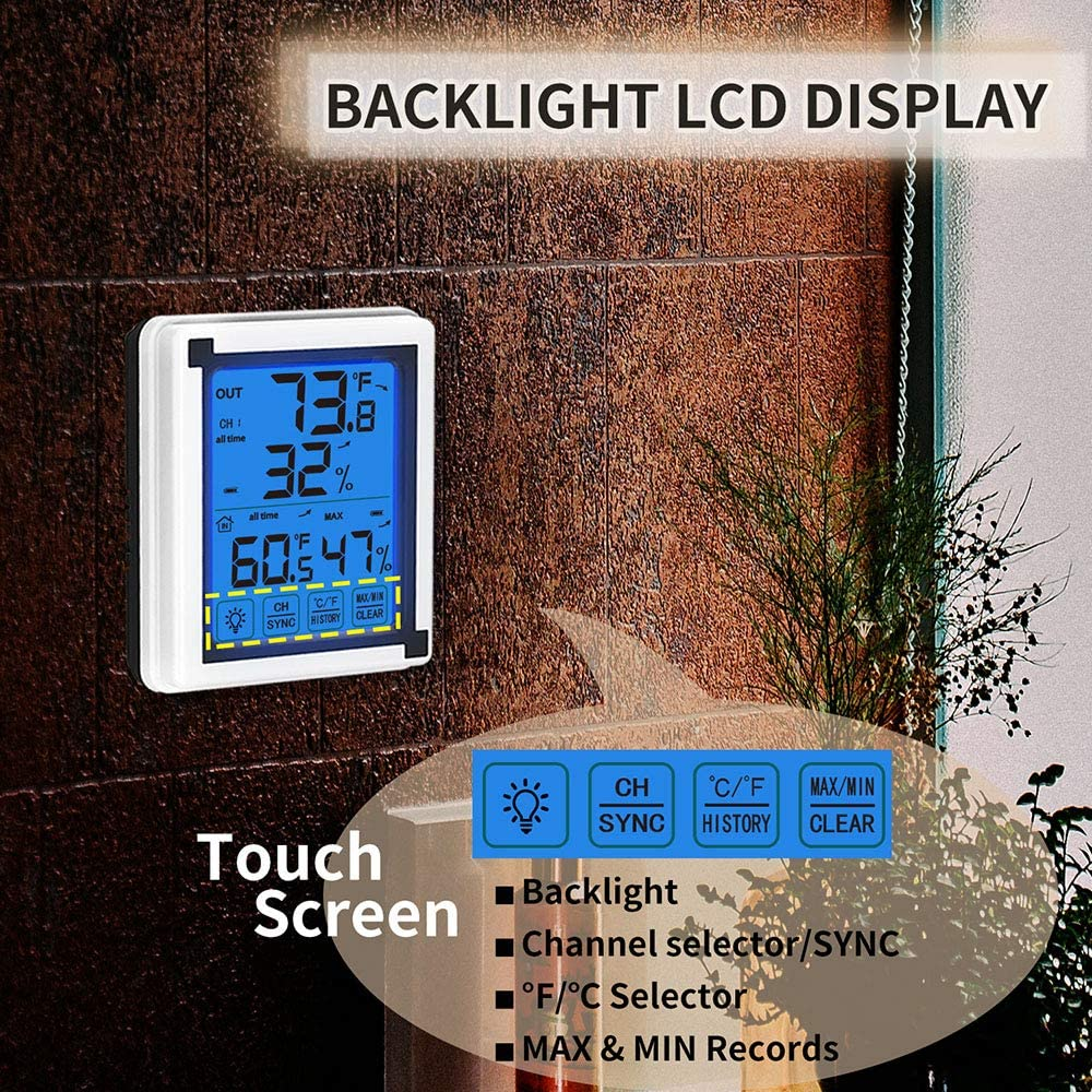 Konesky Digital Wireless Hygrometer Thermometer Indoor Outdoor with Jumbo Touchscreen and Backlight Temperature Humidity Monitor Weather Clock,197ft//60m Range