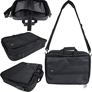 DURAGADGET Black Laptop Briefcase Style Bag with Multiple Compartments - Compatible with The MSI PL62 7RC   GS63 7RD Stealth   GL62M 7RDX-2073UK   GL62M 7REX-1293UK   GP62MVR 7RFX-880 Leopard Pro