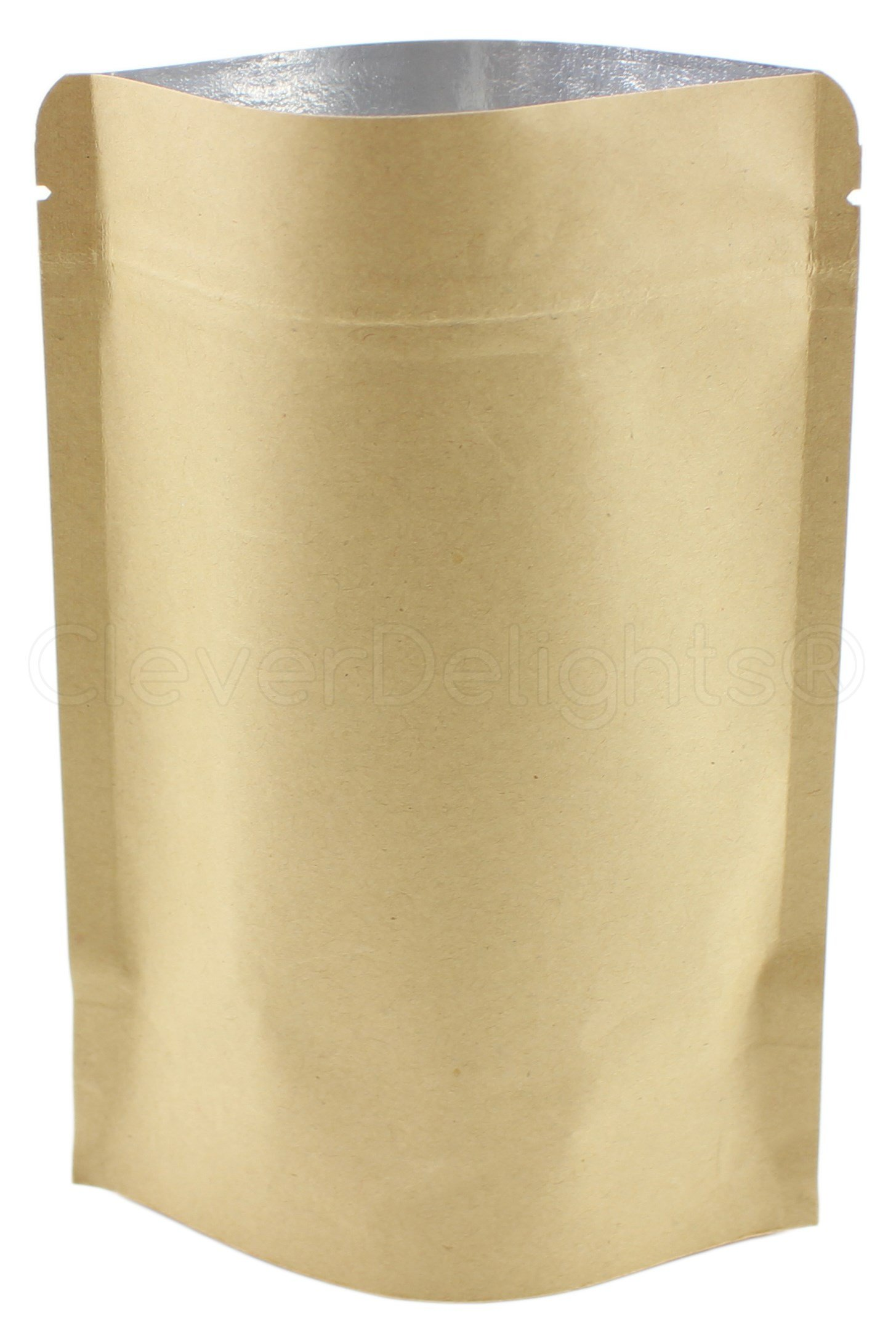 25 Pack - CleverDelights Kraft Stand-Up Pouches - 8oz - 6'' x 9'' x 3'' - Foil Lined with Zipper Lock