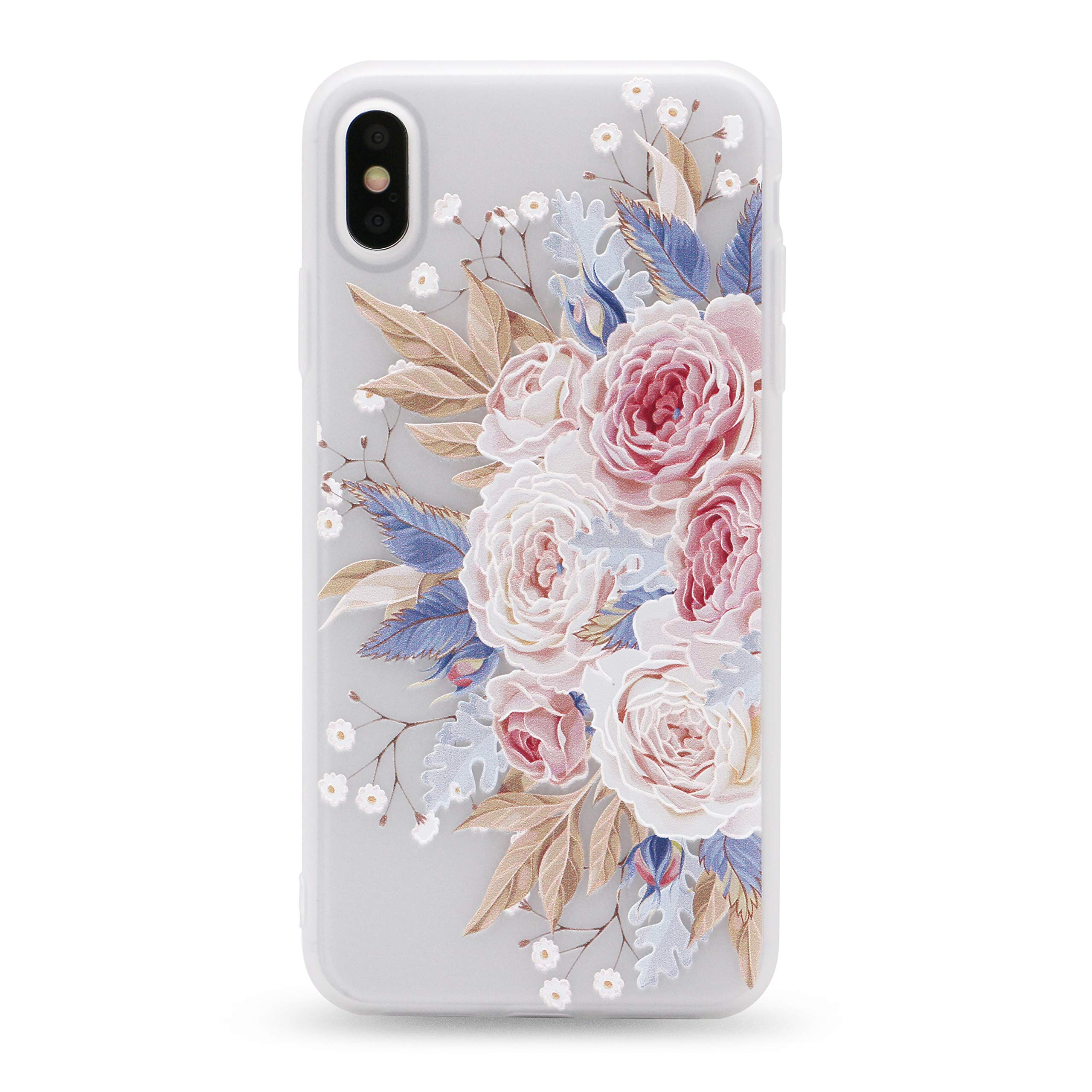 IMIFUN 3D Relief Flower Silicon Phone Case for iPhone Xs Max XR XS Rose Floral iPhone Cases Soft TPU Cover (7232, XSMAX) by IMIFUN