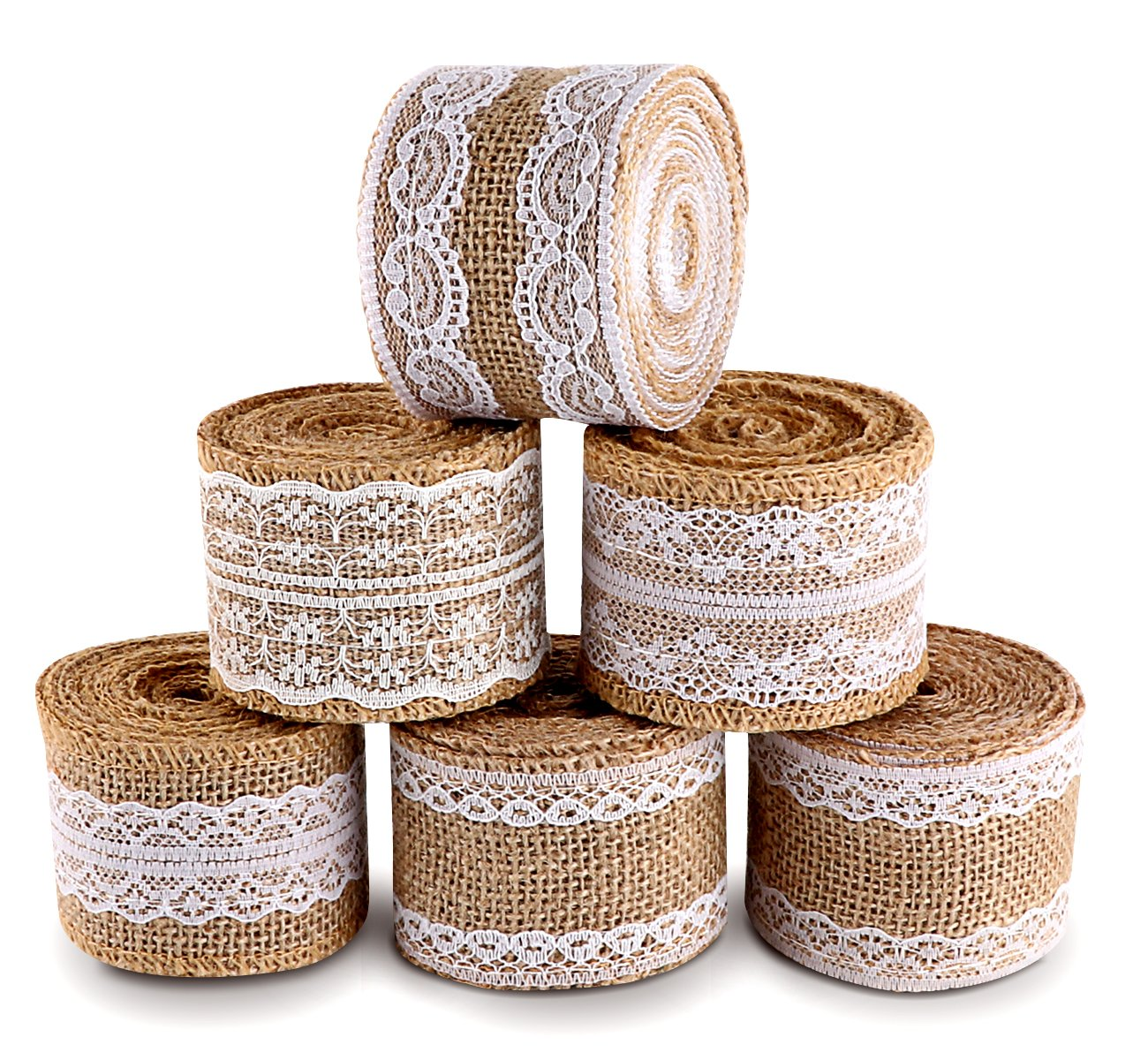 ilauke 20 Yards Natural Burlap Ribbon Roll with White Lace Trims Tape 6 Rolls for Rustic Wedding Favor Decorations 4336858123