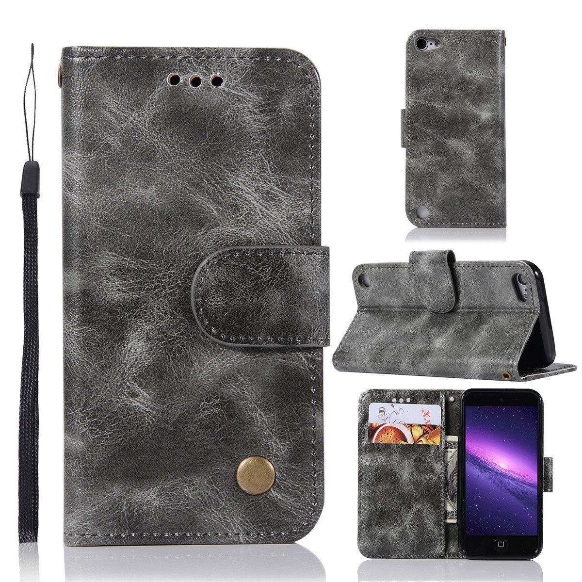 /Étui iPod Touch 5/6 scheam livre Flip Coque /Étui portefeuille Premium PU Housse en cuir B/équille Feature /Étui de protection pour iPod Touch 5/6/Grey marron marron Support pour slot pour cartes