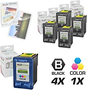 LD Remanufactured Ink Cartridge Replacement for HP 21 & 22 (4 Black, 1 Color, 5-Pack)