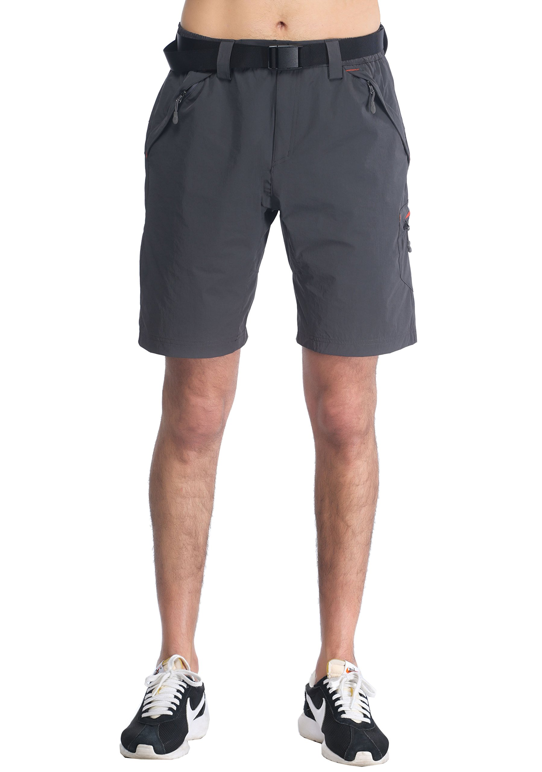 MIERSPORTS Lightweight Men's Cargo Shorts Water Resistant Outdoor Shorts with 4 Zip-closed Pockets, Graphite Grey, L