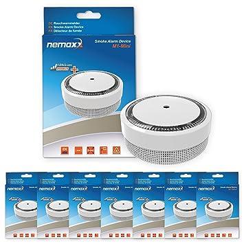 7X Nemaxx Detector de Humo M1-Mini sensibilidad fotoeléctrica - con batería de Litio Tipo