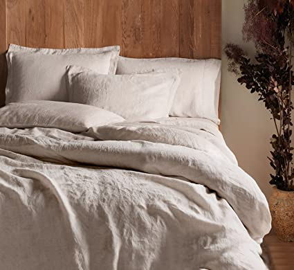 8cfc025280 Tahari Stonewashed 100-percent Linen Duvet Quilt Cover Pure Genuine Soft  Washed Flax Elegant 3