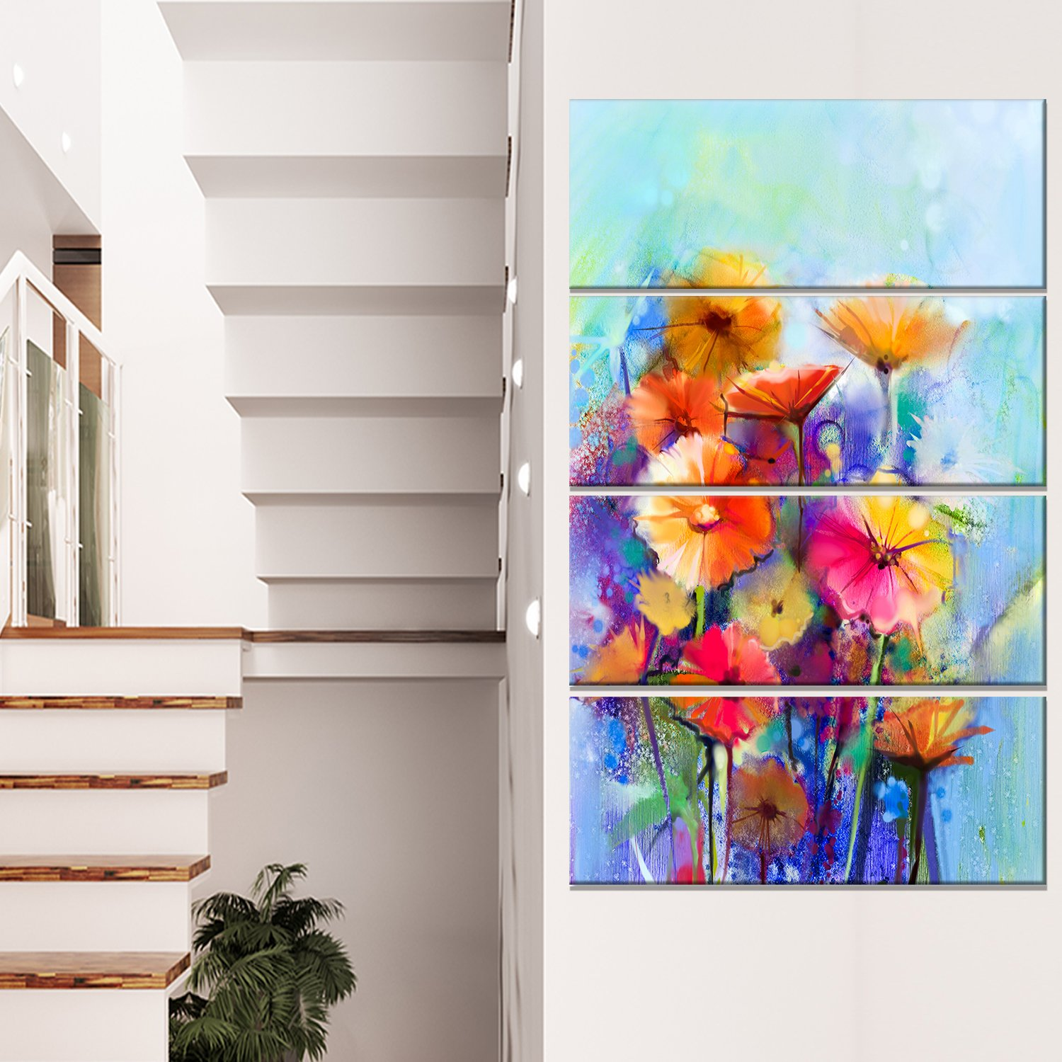 Designart PT15036-271V Abstract Floral Watercolor Painting Modern Floral Wall Art Canvas,,28x48 by Design Art