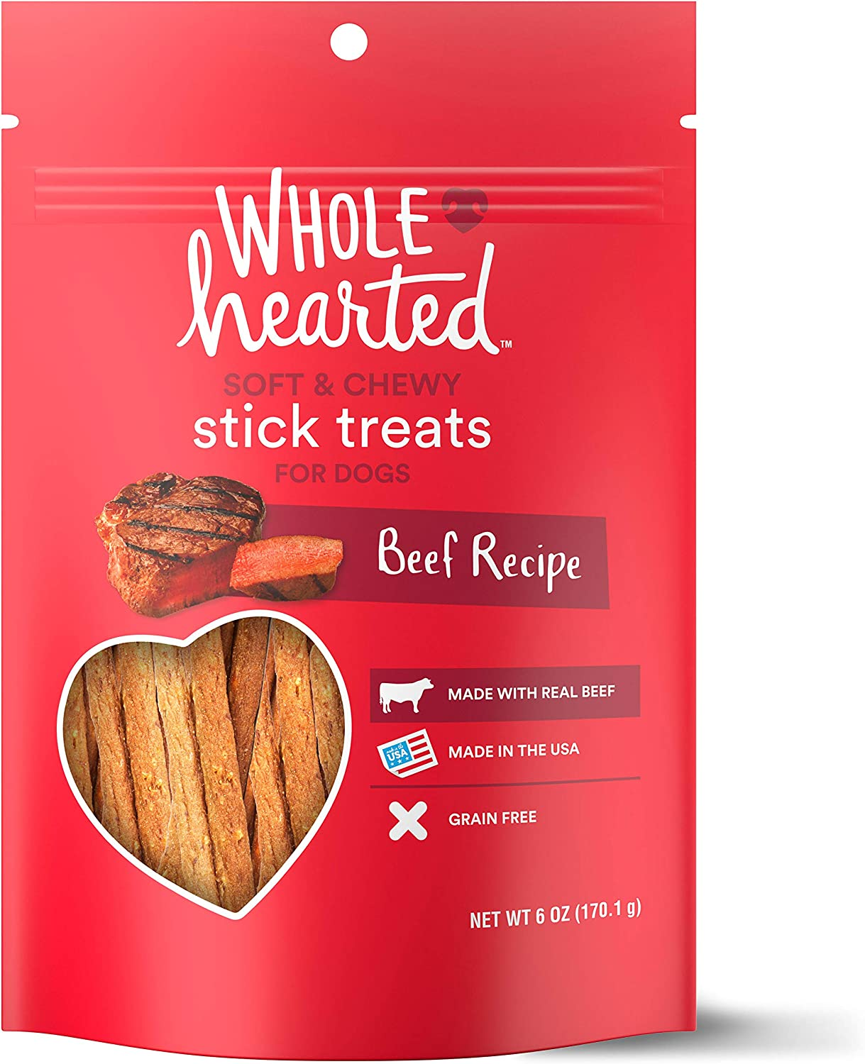 Petco Brand - WholeHearted Grain Free Soft and Chewy Beef Recipe Dog Stick Treats, 6 oz