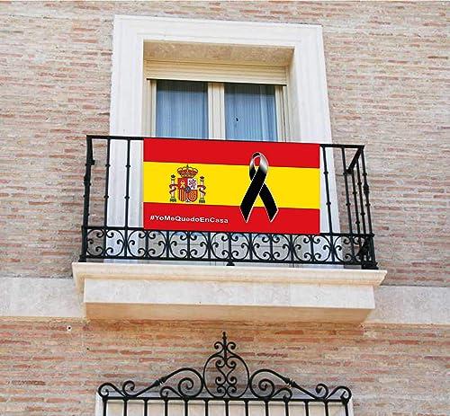 Pancarta, Bandera con lazo negro, crespón, [120x60cm] lona para balcón yo me quedo en casa: Amazon.es: Handmade