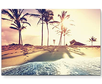 120x40cm Wandbild Leinwand Keilrahmen Panorama Vintage Palme Sinus Art