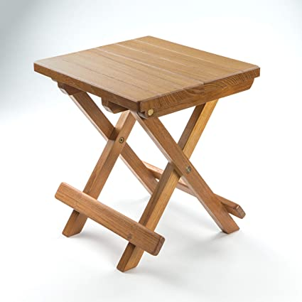 Beau Whitecap Teak Grooved Top Fold Away Table/Stool
