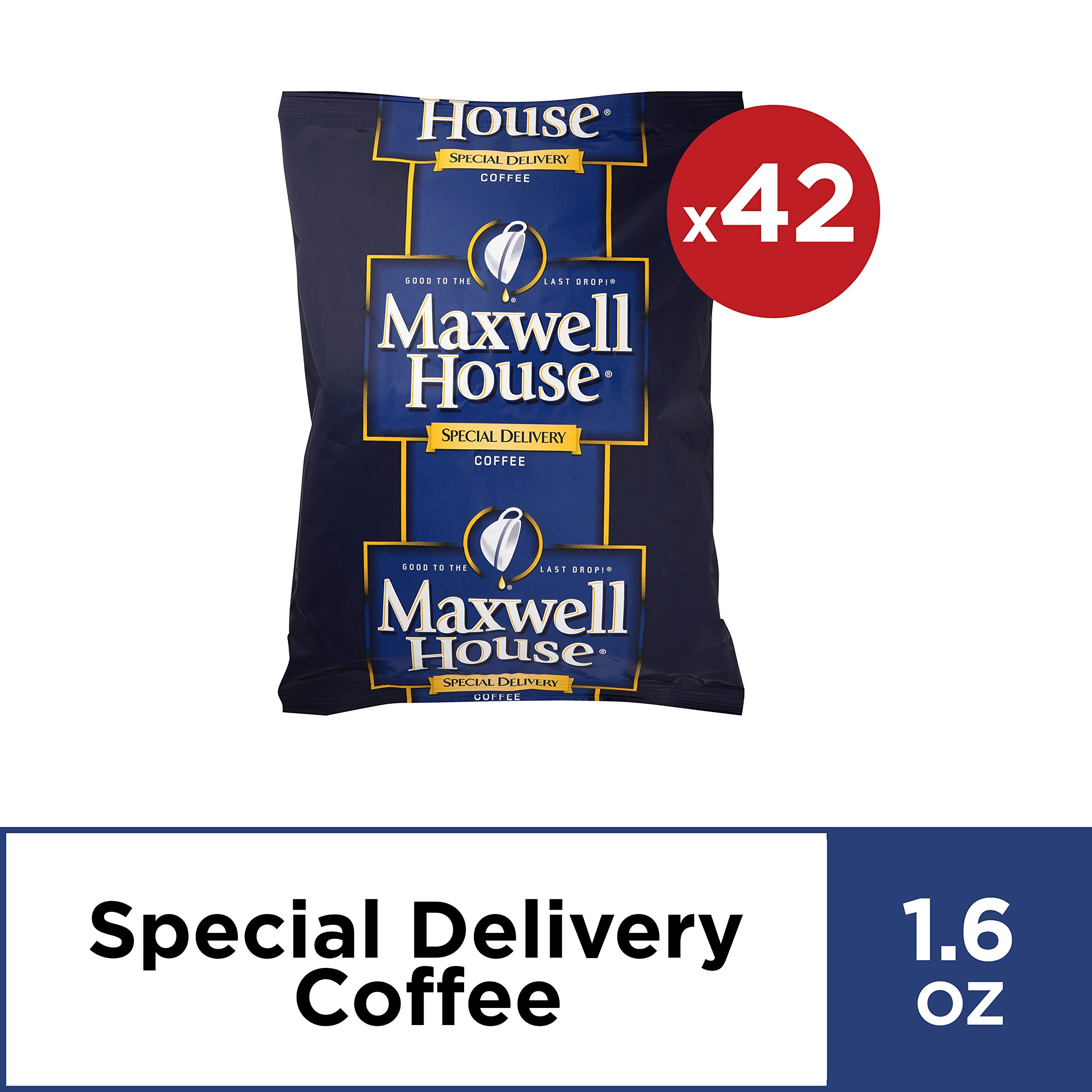 Maxwell House Special Delivery Ground Coffee Single Serve (1.6 oz Bags, Pack of 42)