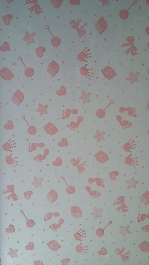 Baby Prints Pink Cellophane Gift Hamper Wrap 2 Metres Folded