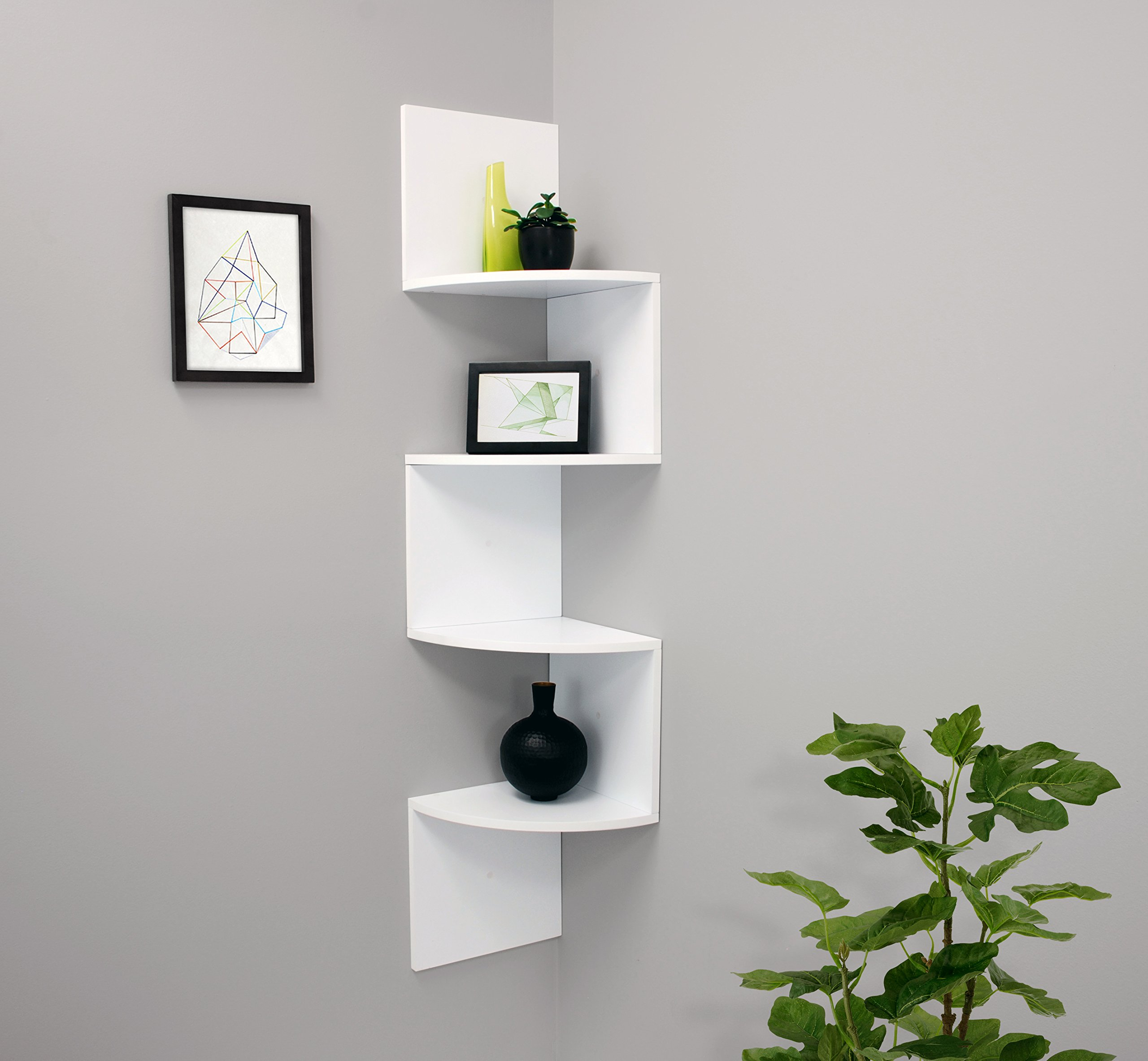 Corner Mounted Accent Wall Shelf With 4 Tiers Home Decor