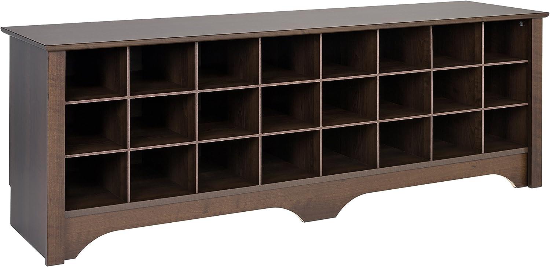 Espresso Prepac  24 Pair Shoe Storage Cubby Bench