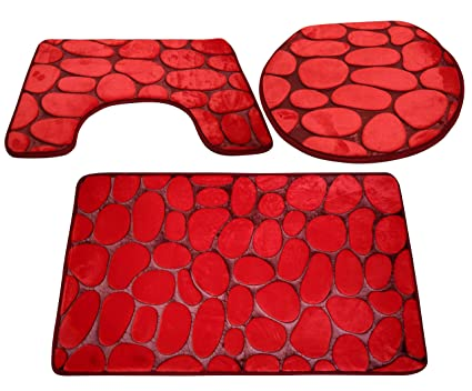 Livzing Synthetic Nonslip Toilet Seat Cover Contour Mat (Red) - Set of 3