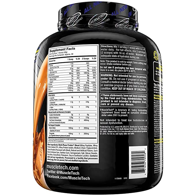 Muscletech Performance Series Nitro-Tech Power Triple Chocolate Supreme - 1833 gr: Amazon.es: Salud y cuidado personal