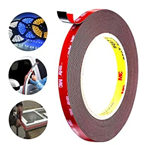 3M Double Sided Tape Mounting Tape Heavy Duty, 36 FT Length, 0.4 Inch Width for Car, LED Strip Lights, Home Decor, Office Decor