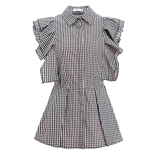7024deb3f239f9 Image Unavailable. Image not available for. Color: AOMEI Women Black Plaid  Blouse Tops Sleeveless Vintage Style with Ruffles