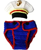 Lightbird USMC Marines Newborn Baby Photography Props,Crochet USMC Navy Sailor Boy Uniform Costume Photo Props Outfits…