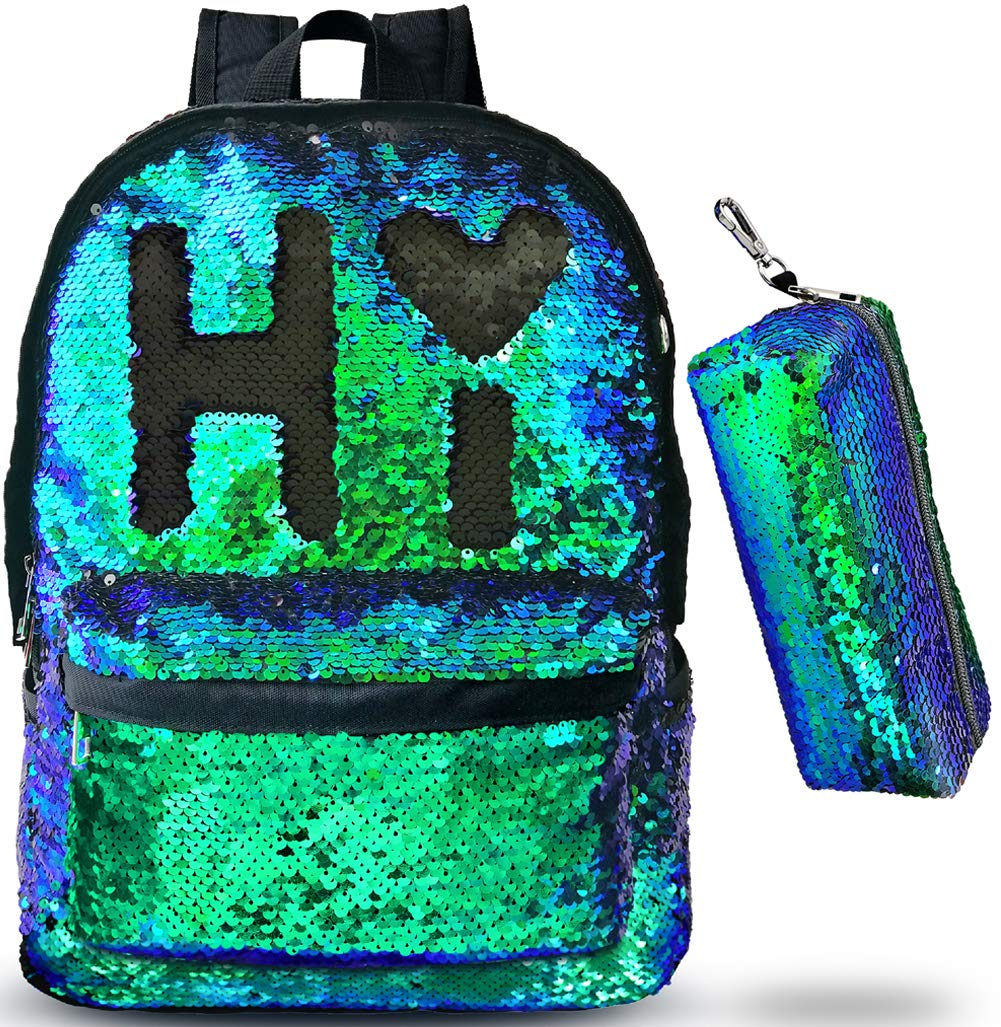 8e7e078dd456 Magic Reversible Sequin-School Backpack for Girls Boys Kids Teens Fashion  Glitter Mermaid Flip Sparkly Book Bag Gift Lightweight with Pencil Case ...