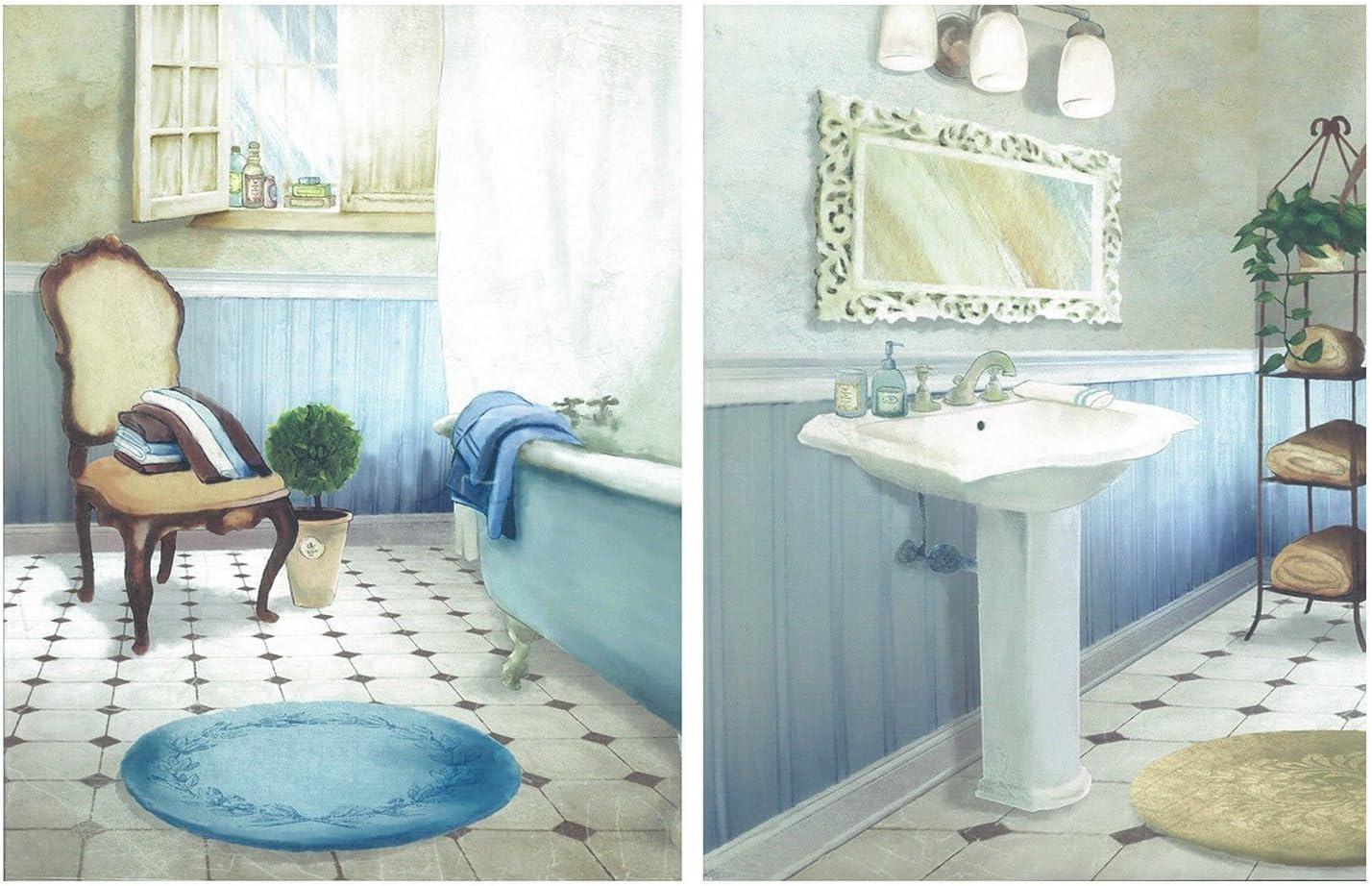 Dcine Cuadro Decorativo de baño en Tonos Azules. Set de 2 Cuadros de 25x19 cm Cada uno