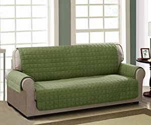 Chic Home Checkers Box Quilted Quick Drape Reversible Chair and Sofa Cover 100% Waterproof protector Sofa Furniture Cover Green