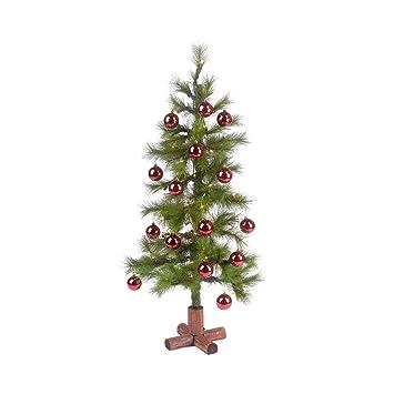 Amazon.com: Christmas Ltd 4' Pre-Lit Christmas Tree With Red ...