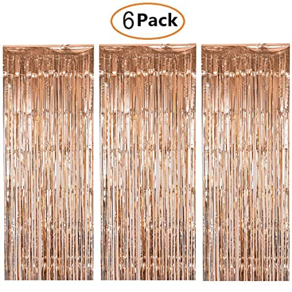 shiny metallic foil fringe curtain rose gold 6 pack door window curtain party decoration champagne
