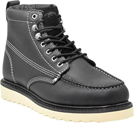 Golden Fox Mens Premium Leather Soft Toe Light Weight Industrial Construction Moc Work Boots Insulated
