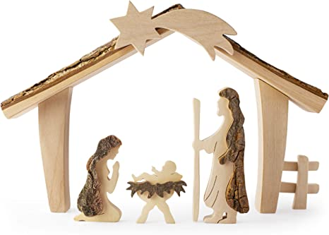 Baby Jesus Christmas Ornament Wooden with Raffia Hanger Unique Handmade Decoration Made in USA