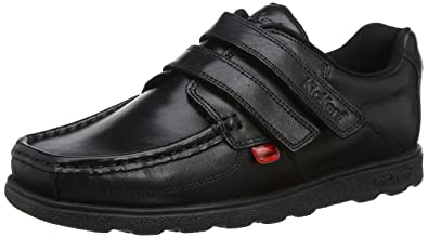 2c537f6d0f441 Kickers Fragma Strap 3 Youth Boys Other Leather Material School Shoes Black  - 1 UK