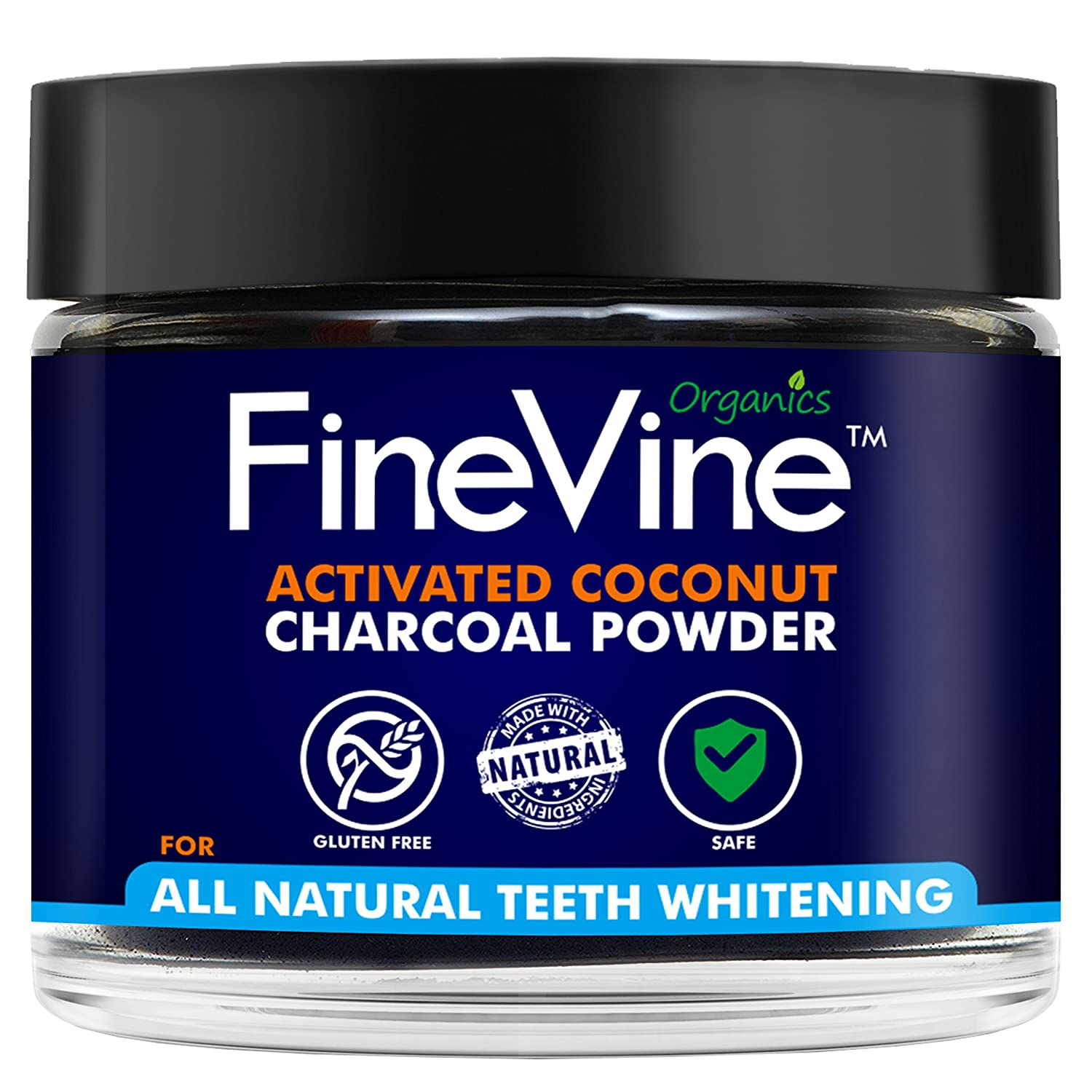 All Natural Teeth Whitening Powder - Made in USA with Coconut Activated Charcoal - Safe Effective Tooth Whitener Solution. Better than Strips, Kit, Gel & Whitening Toothpaste. FineVine Organics FV001