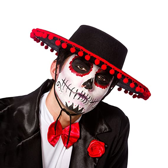 e2fd1d050a4 Adult Black Senor Hat Fancy Dress Accessory Day Of The Dead Mexican Amigo  New  Amazon.co.uk  Clothing