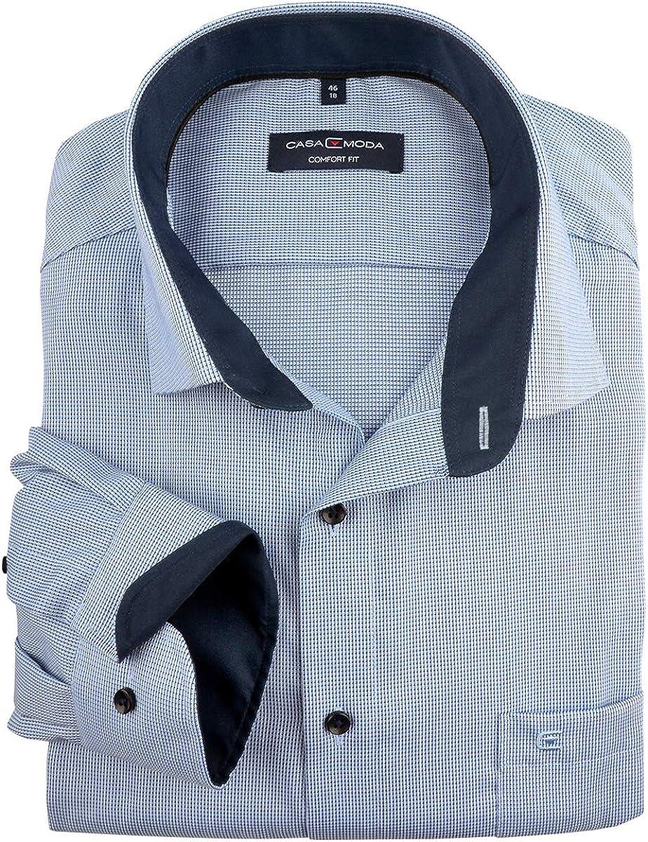 Casamoda XXL Camisa de Manga Larga Textura Azul-Blanca sin ...