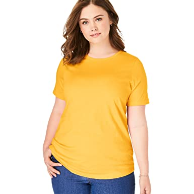 a0c0ae6b Woman Within Women's Plus Size Petite Perfect Crewneck Tee at Amazon  Women's Clothing store: