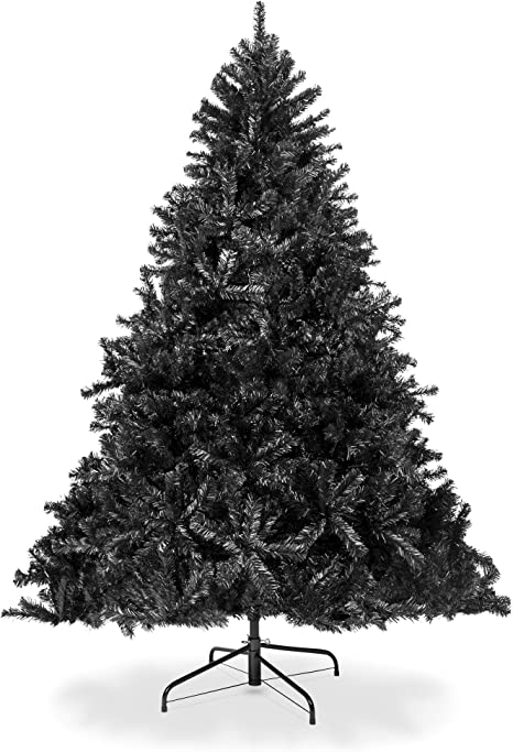 Amazon Com Best Choice Products 7 5ft Artificial Full Black Christmas Tree Seasonal Holiday Decoration For Home Office Party Decoration W 1 749 Pvc Branch Tips Metal Hinges Foldable Base Home Kitchen