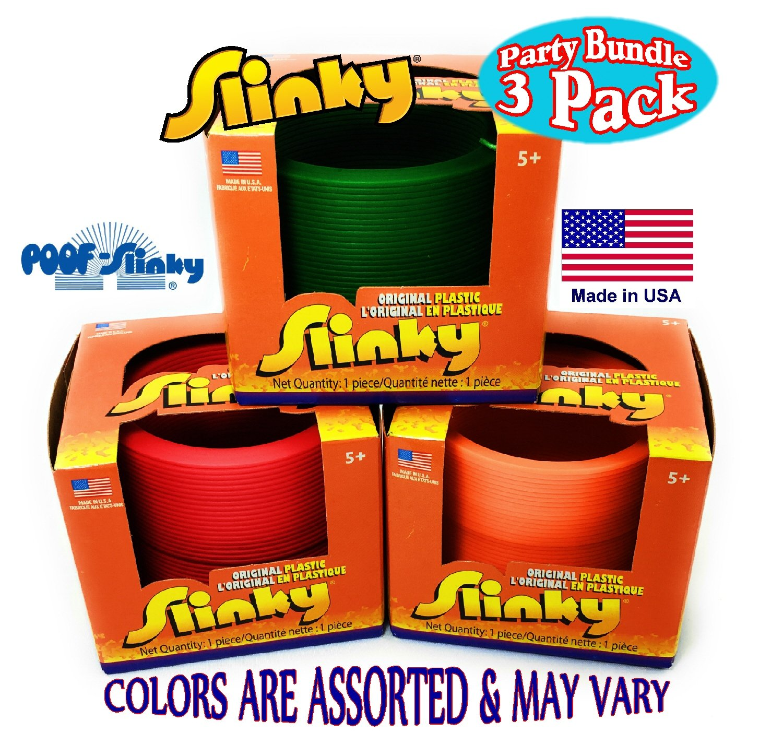 Poof Slinky Original Plastic Slinky Gift Set Party Bundle - 3 Pack (Assorted Colors)
