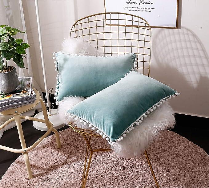 FabThing 2 Pcs Housse de Coussin Rectangulaire en Velours Taie d'oreiller Decorative Super Doux Maison Salon Chambre pour Canapé 30x50cm Vert d'eau