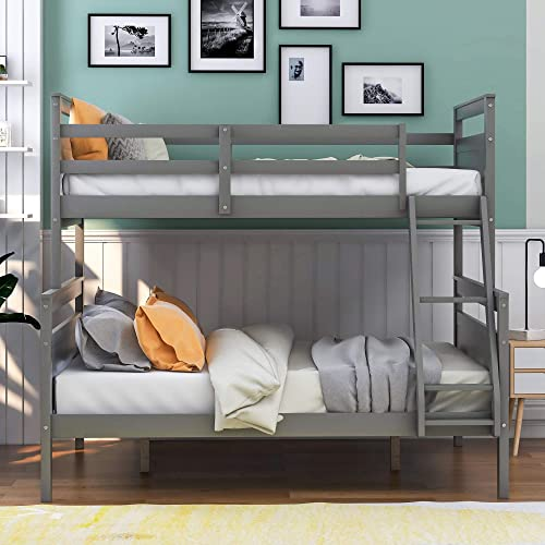 P PURLOVE Twin Over Full Bunk Bed Twin Over Full Loft Bed Wood Bunk Bed